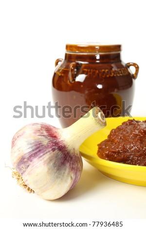 Bean paste on white background - stock photo