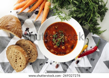 Bean soup / Rustic home cooking  - stock photo
