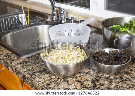 Bean sprouts, Chinese wood ears, and Choy on top of kitchen counter next to stainless steel sink with plastic strainer - stock photo