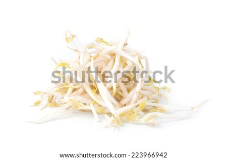 bean sprouts, soybean sprouts on a white background
