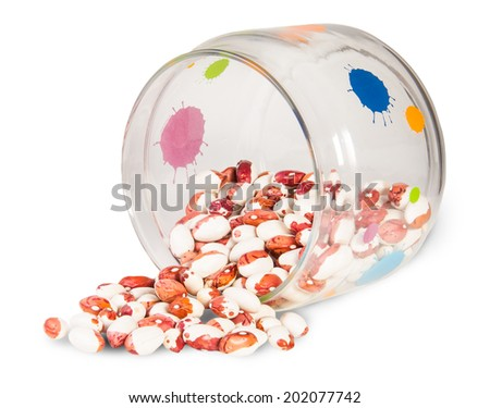 Beans In A Glass Jar Isolated On White Background