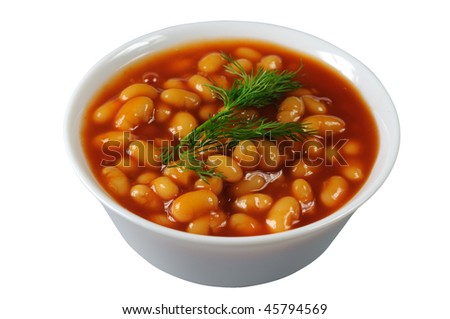 Beans in tomato sauce in a porcelain bowl - stock photo