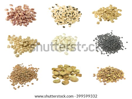 Beans, lentils, indian pea, broad beans, chickpeas collections on white background