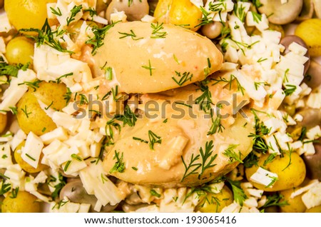 beans, melloco and cheese, traditional ecuatorian food - stock photo