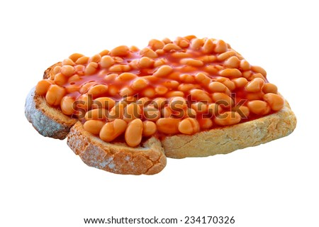 Beans on toast on an isolated white background with a clipping path - stock photo