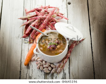 beans soup with ingredients