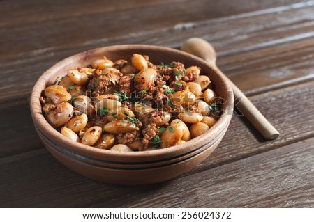 beans with meat and tomato sauce - stock photo