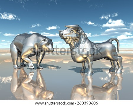 Bear and Bull Computer generated 3D illustration - stock photo