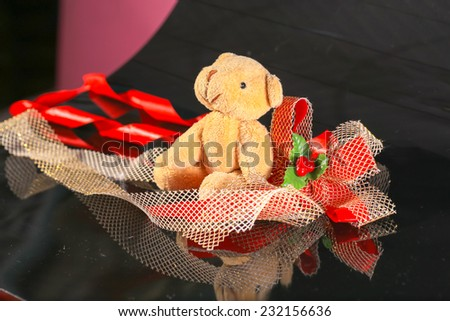 bear and christmas bouquet - stock photo