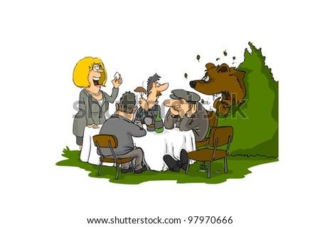 Bear come to picnic - stock photo