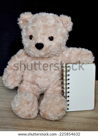 Bear doll and notebook on the wood table