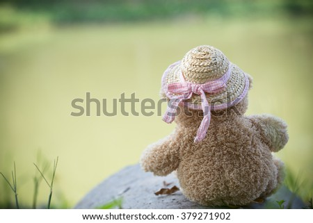 Bear doll wears straw hat turns back and sits on the pier near the lake - stock photo