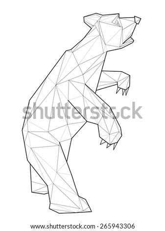 Bear. Low polygon linear illustration - stock photo