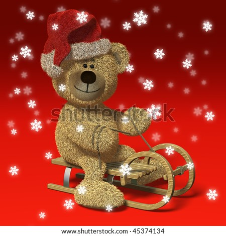 Bear riding a sledge wearing Santa's cap, surrounded by snowflakes. - stock photo