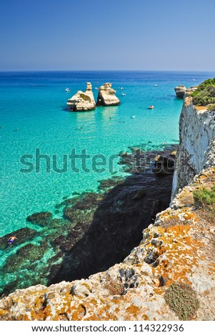 Bear's Tower beach in Salento, Apulia, Italy. - stock photo
