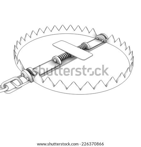 bear trap . isolated on white background. 3d - stock photo
