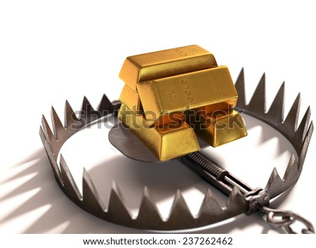 Bear trap with gold bars as bait on white background. - stock photo