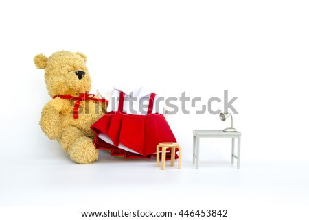 Bear with school uniform on white background - stock photo