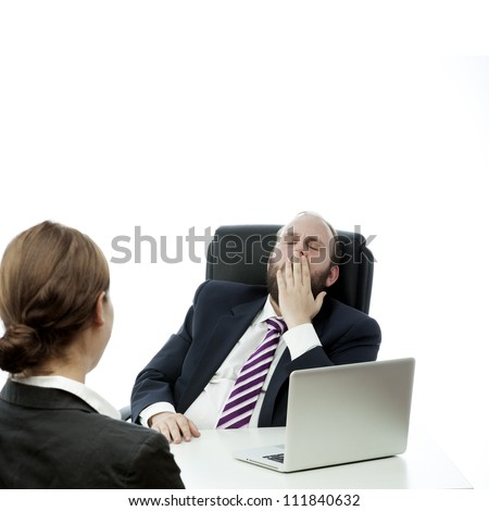 beard business man brunette woman desk yawn - stock photo