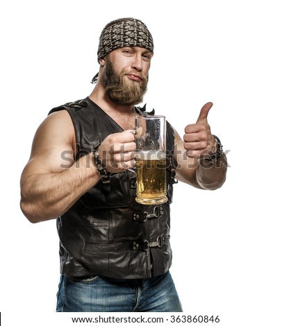 Beard man drinking beer from a beer mug. Showing OK sign, thumbs up. Isolated on white background. - stock photo