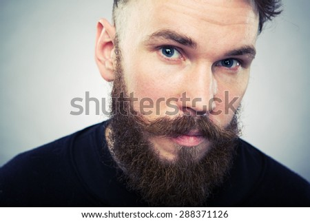 Beard man portrait closeup