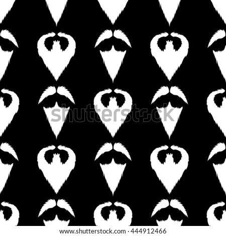 Beard Silhouette Seamless Pattern. Mustache Barber Background - stock photo