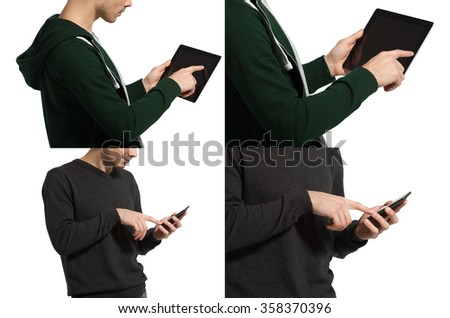 bearded business man using a phone or tablet. isolated on white background. - stock photo