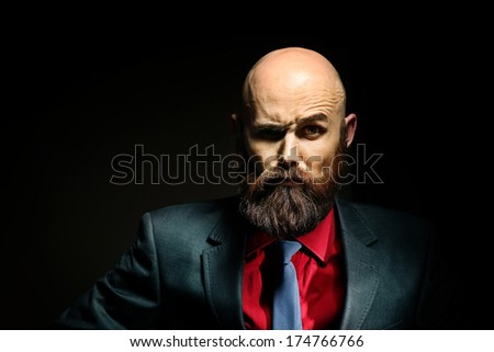 bearded in a suit and tie, businessman