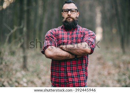 Bearded man. Lumberjack. - stock photo