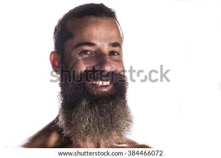 Bearded man with back light posing