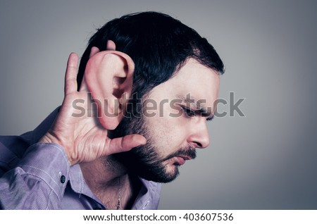 bearded man with the big ear - stock photo