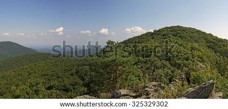 Bearfence Viewpoint Panorama take from Bearfence Mountain Trail Shenandoah National Park, Virginia, USA. - stock photo