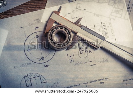 Bearing, calipers and mechanical diagrams - stock photo