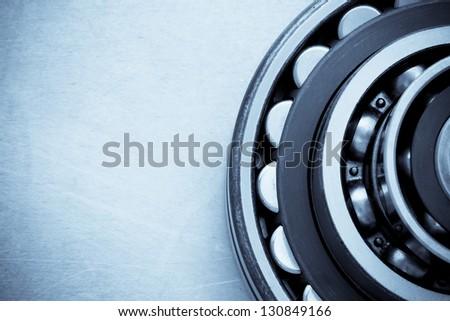 bearings at metal  background - stock photo