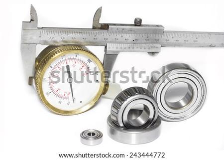 Bearings measuring device diameters white background. - stock photo