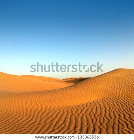 beatiful evening landscape in desert - stock photo