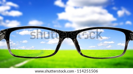 Beatiful morning field with bright sun - stock photo