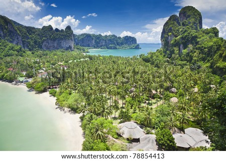 Beatiful Railay bay from view point, Krabi, Thailand - stock photo