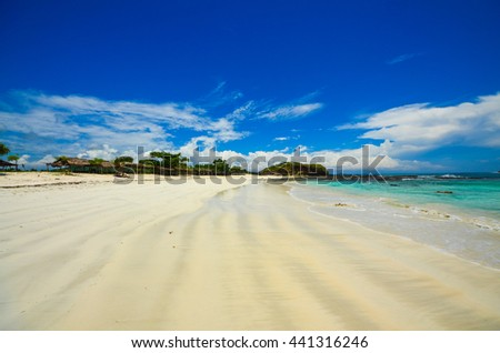 Beatiful tropical beach with blue water, paradise view, Indonesia. - stock photo