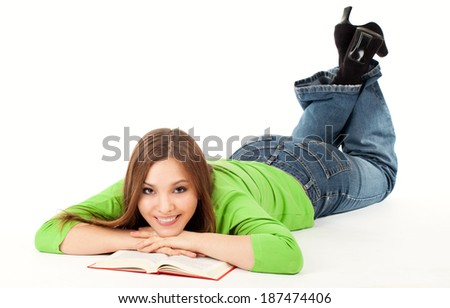 beatiful woman is reading book, full length, white backgrou - stock photo