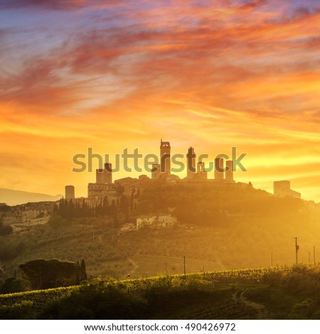 Beatutiful sunset at San Gimignano Medieval Village, Italy, Europe