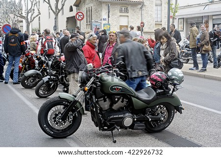 BEAUCAIRE, FRANCE - APRIL 30: a group of motorcycles from a gathering of American motorcycle in the town of Beaucaire in the French department of Gard, april 30, 2016
