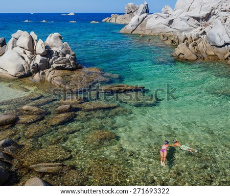Beauiful view of the Sardegna bay. Italy - stock photo