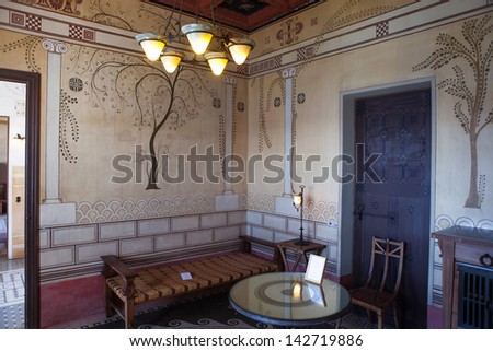 BEAULIEU SUR MER , FRANCE - APRIL 24 :  Villa Kerylos  is a Greek-style property built in the early 1900s by French archaeologist Theodore Reinach, Apr 24, 2013 in Beaulieu sur mer, France