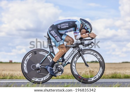BEAUROUVRE,FRANCE,JUL 21:The American cyclist Levi Leipheimer from Omega Pharma-Quick Step Team pedaling during the 19 stage- a time trial between Bonneval and Chartres on July 21 2012 - stock photo