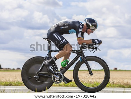 BEAUROUVRE,FRANCE,JUL 21:The Australian cyclist Michael Rogers from Team Sky pedaling during the 19 stage- a time trial between Bonneval and Chartres on July 21 2012. - stock photo