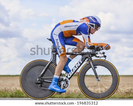 BEAUROUVRE,FRANCE,JUL 21:The Dutch cyclist Steven Kruijswijk from Rabobank Team pedaling during the 19 stage- a time trial between Bonneval and Chartres on July 21 2012