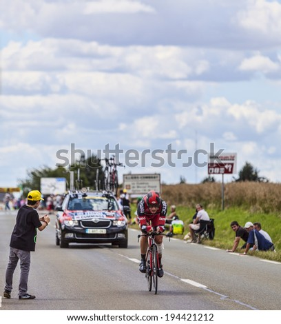 BEAUROUVRE,FRANCE,JUL 21:The English cyclist  Steve Cummings from BMC Team pedaling during the 19 stage- a time trial between Bonneval and Chartres on July 21 2012. - stock photo