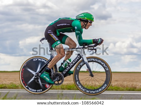BEAUROUVRE,FRANCE,JUL 21:The French Cyclist Rolland Pierre (Europcar) pedaling during the 19 stage- a time trial  between Bonneval and Chartres. - of Le Tour de France on July 21 2012. - stock photo