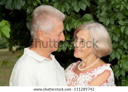 Beauteous elderly couple went for a walk in the park